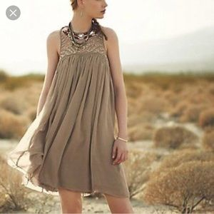 Anthropology taupe babydoll dress NWT